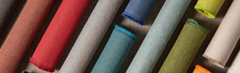 Rolls of multicolor woven fabrics