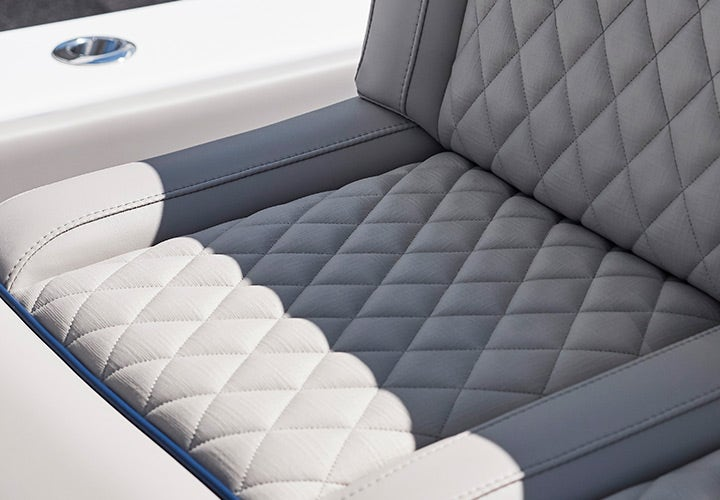 Up close image of Sunbrella Horizon fabric on a boat seat