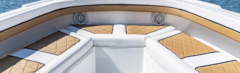 Boat featuring Sunbrella Horizon marne vinyl seating