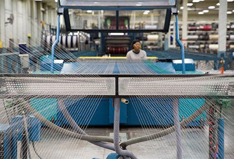 fabric loom in sunbrella manufacturing facility