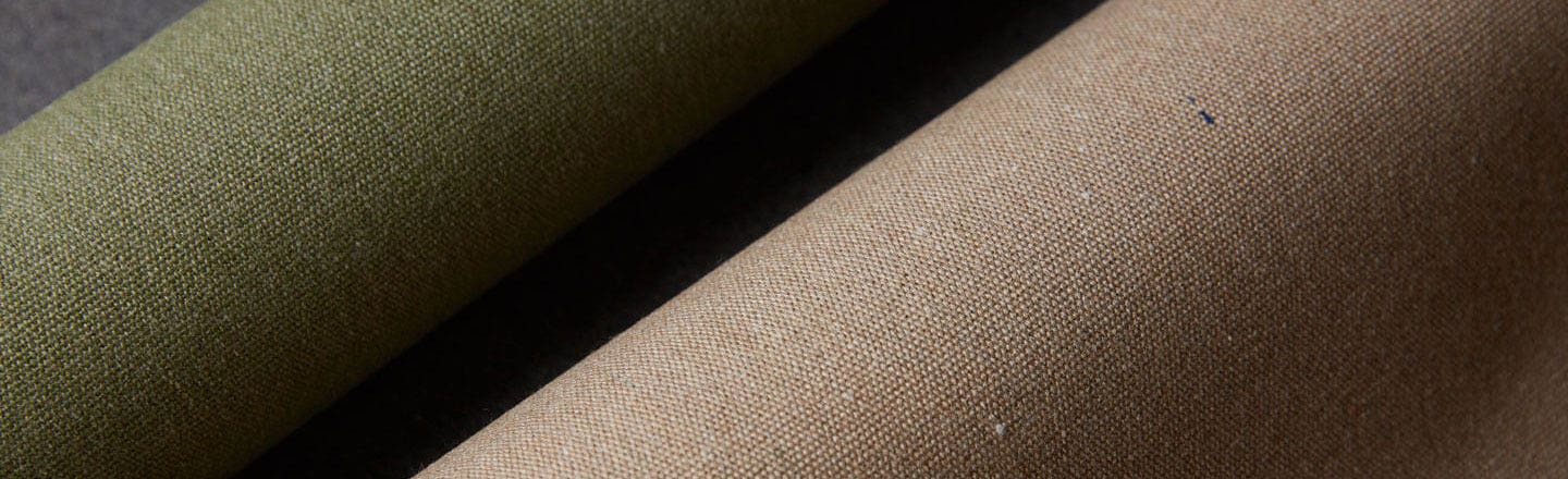 Closeup of green and beige fabrics