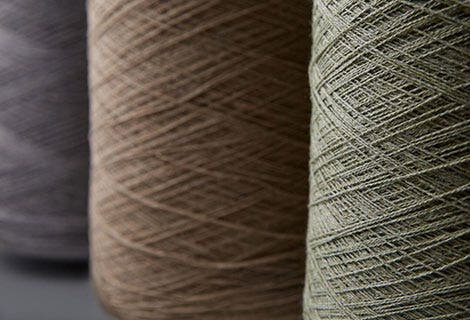 Three earth tone yarn skeins