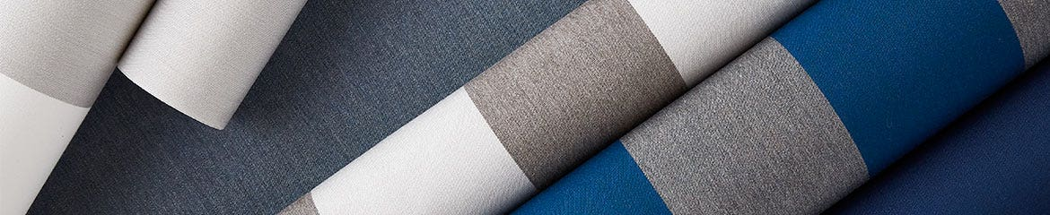 Closeup of white grey and blue Shade fabric